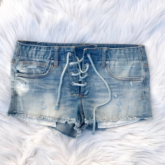 American Eagle Outfitters Pants - American Eagle Shortie Jean Shorts Lace Up AEO